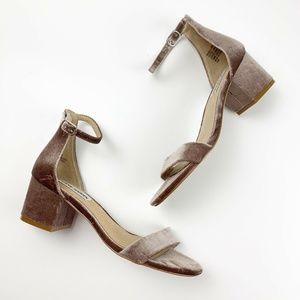 Steve Madden Irenee Taupe Velvet Block Heel Sandal